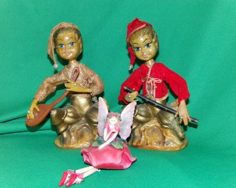 Pair of  Elfs, Pixie Flute Player and stringer player 60's Magic, Figurines Rare set larger Size 8 inches