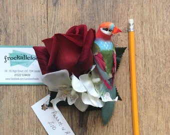 Red rose and bird hair clip/fascinator