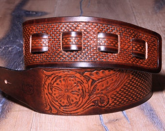 Handmade Leather Guitar Belt - Leather Guitar Strap - Brown and Tan - Hand tooled Basket weave pattern with Flower image