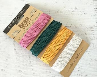 Natural Hemp Cord, 1mm 20lb test, BeadSmith Spring Colors Hemp, 1 Card Assorted Colors Hemp String, Hemp Macrame Cord (HEM-20)