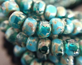 Blue Trica Seed Beads, Turquoise Blue Beads with Picasso Finish,  3 Cut Glass Seed Beads, Tri-Cut Seed Beads 6/0, 4x3mm - 48 beads (MAT-30)