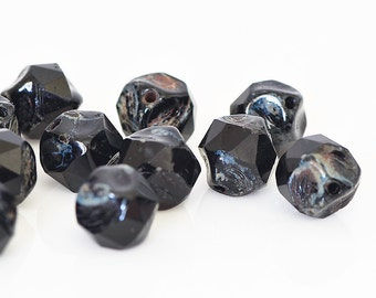 Jet Black Central Cut Beads, Black Czech Glass Beads with Picasso, Baroque Cut Glass Beads, Picasso Glass Beads, 9mm - 15 beads (CC-07)