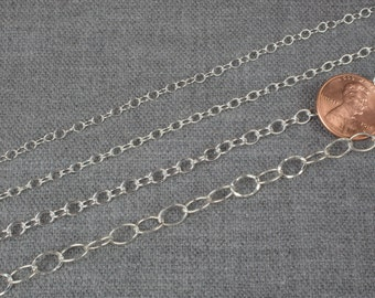 STERLING SILVER Chain. Beautiful quality round chain selection. 4 styles oval chain. Solid 925 sterling silver! - Silver and Oxidized