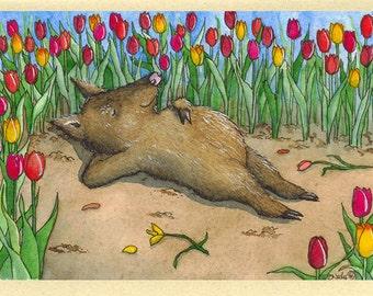 Javelina in Tulips (Sweet Dreams) Greeting Card
