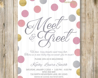 MEET and GREET Invitation, Pink Gold Silver Meet the Baby Invite, Sip and See Party, Pink Twins Baby Girl Shower, Holiday Meet and Greet
