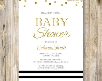 NAUTICAL BABY SHOWER Invitation, It's A Boy Digital Invite, Black and Gold Shower, Baby Sprinkle, Stripes Baby Shower, Baby Printables