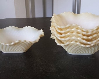 Mid Century Hobnail Milk Glass Ruffle Edge Bowl set of 6 Diamond pattern