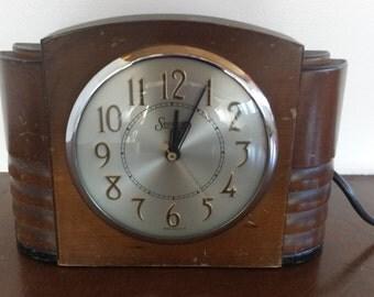 SALE Mid Century Sessions USA Art Deco Clock retro desk table electric WORKS !