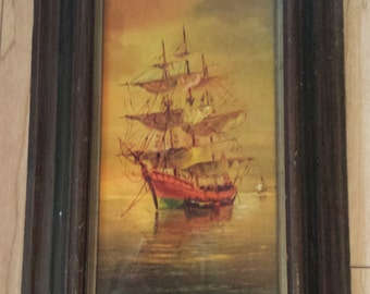 vintage Mid Century Sailing Ship Textured Print by Andres Orpinas framed 10 x 16