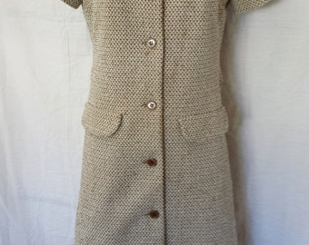 Vintage 1960's Mod Coat Dress brown & cream button front belted back misses sz small