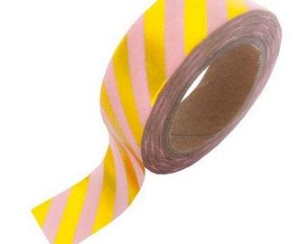 Washi tape pink gold foil stripe