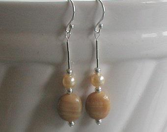 Vintage Caramel Swirl Glass Beads Cream Glass Pearls Sterling Silver Earrings