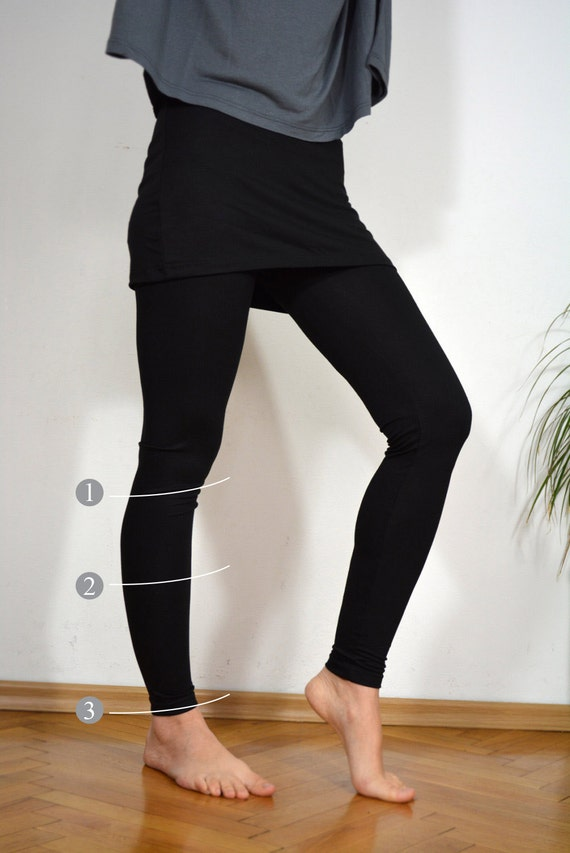Choose the length leggings for sport and yoga with skirt.