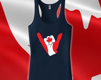 Canada Day Hang Ten Tank - Canadian tank tops for women, men, kids tank top, canada day tank top, canadian flag, canadian clothes - CT-489