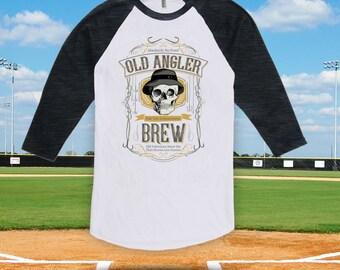 Old Angler baseball t-shirt - father's day gift, fishing trip gift, fishing trip t-shirt, dad fishing gift, lucky fish shirt - CT-711