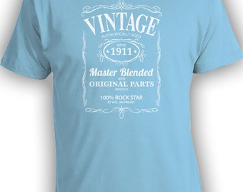 Vintage Whiskey Label Birthday Shirt Born 1911 - Celebrating 105th Birthday, Gifts for Him, Gifts for Grandpa, Gifts for Dad Bourbon CT-1000