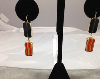 Deco Banded Agate Earrings in 14kt Gold