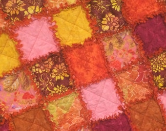 Rag Quilt, Lap Quilt, Blanket Throw, Handmade in the USA,  Ready to Ship