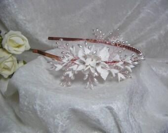 Bridal wedding headband, headpiece, tiara, hair vine, side headband
