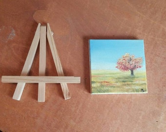Original, hand-painted Mini Oil-Summer scene