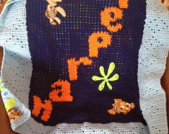 Nemo Character Fleece - Crochet Baby Personalized Blanket - Soft lined Baby Afghan - Disney Finding Nemo Afghan
