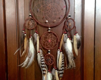Five Circle Dreamcatcher with chicken and turkey feathers.