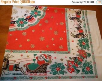 "Sweetheart Sale Vintage Rare Christmas Tablecloth 52"" x 46"" Santa Claus/Reindeer/Houses/Angels/Choir Boys~Very Sweet!"