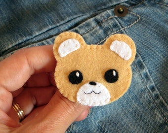 Felt brooch, kawaii bear, kawaii brooch, bear badge, brooch handmade, kawaii animals, bear pin, bear jewelry, kawaii felt, bear gift, felt