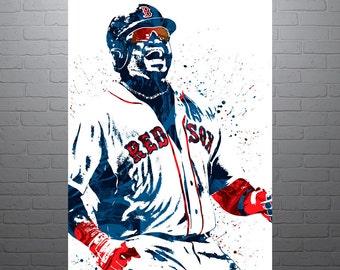 David Ortiz Boston Red Sox, Sports Art Print, Baseball Poster, Kids Decor, Watercolor Contemporary Abstract Drawing Print, Man Cave