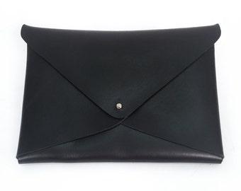Black Leather Envelope Clutch