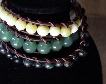 Three wrap brown leather bracelt