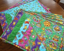 Set of 4 Quilted Christmas Placemats - Laurel Burch - Green Cat Ornaments or Blue Candy Canes