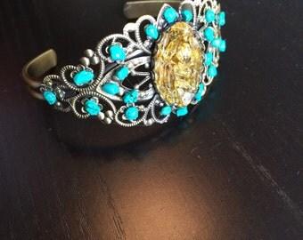 Citrine and Magnesite gemstone cuff bracelet