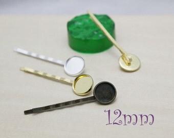 Blank Bobby Pins Tray - Bobby Pins Blanks - Bezel Hair Pin Cabochon Setting - Hair Cabochon Trays -12mm and 14mm
