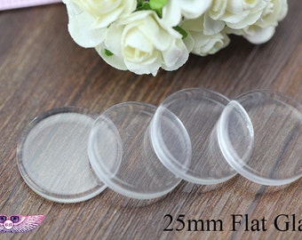 1inch Flat Glass Tiles - 25mm Round Glass Cabochons - 1inch Pendant Glass Tiles - Bezel Glass Cabochon Clear 25mm - Transparent Glass Cover