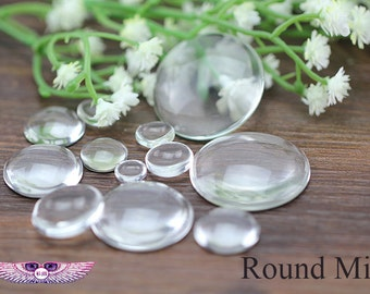 Clear Glass Cabochon Round - Quality Glass Dome - High Clear Flat Back - Magnify Glass Inserts - Transparent Glass Domes - N Sizes - 50pcs