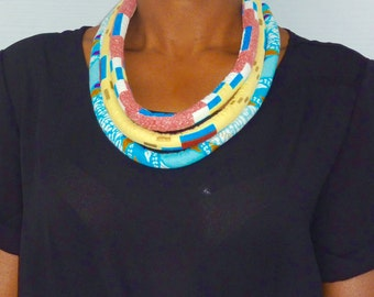 Cord necklace in African fabric - unique trilayer design