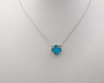 Lovely 12mm Blue resin four leaf clover necklace, silver color with Blue clover necklace