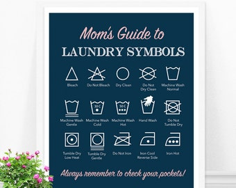 Laundry Symbols Print, Mom's Guide to Laundry, Personalized Laundry Print, Laundry Room Decor, Gift for Mom, Mother's Day Gift