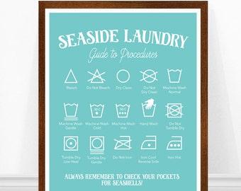 Beach House Sign, Beach Print, Laundry Room Art, Laundry Symbols, Beach House Decor, Seaside Laundry Print