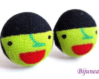 Witch earrings - Halloween Witch stud earrings - Green Witch posts - Halloween Witch post earrings sf1081