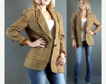 On Sale Vintage 1990's Brown Evan Piccone Wool Blend Houndstooth Wool Blend Blazer Jacket M 8