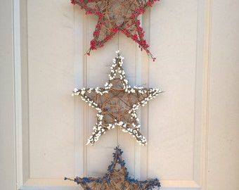 3 patriotic red white and blue twig stars with pip berries - 4th of July wreath