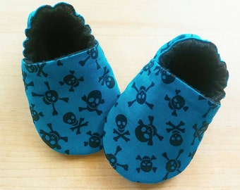Blue and Black Skull/ Crossbones Baby/Kid Booties. Size US 1-7