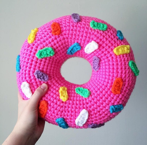 Crochet Donut Pillow : Crochet Pink Frosted Donut Pillow with Rainbow by OliviaLawsArt