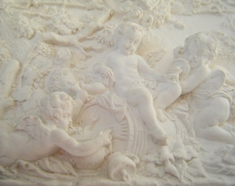 Vintage Plaster Plaque Plaster Wall Art Plaster Wall Decor Small Plaster Decorative Plaque Cherubs Plaster Sculpture Plaster of Paris