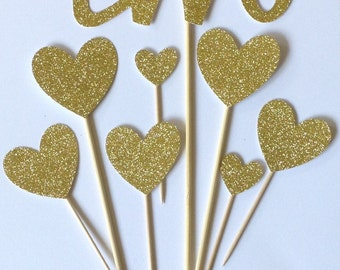 2nd Birthday Cake Toppers, Gold Glitter TWO & Heart Cake Toppers, Birthday Cake Toppers, Assortment Pack