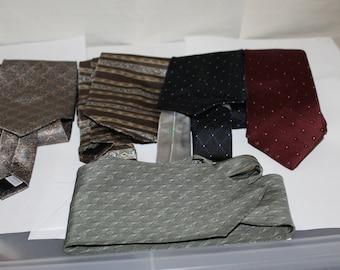 Five Vintage Ties, NICE Condition, Makers Include Pierre Cardin Silk, Van Heusen Silk, Bill Blass Silk, Tommy Hilfiger Silk, L.S. Ayres & Co