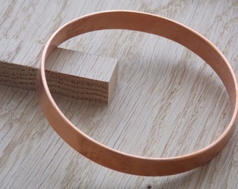 Solid Handmade Wide Copper Bangle (2mm x 10mm) - free UK delivery