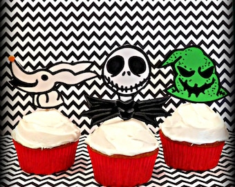 Nightmare Before Christmas Inspired  Cupcake Toppers/Party Supplies
